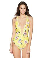Nanette Lepore 166288 Womens Front Keyhole One Piece Swimsuit Yellow Size Large