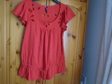 Pretty traffic light red summer embroidered top, TOPSHOP, size 10