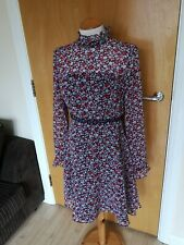 Ladies Dress Size 10 M&S Blue Red Chiffon Fit And Flare Party Evening