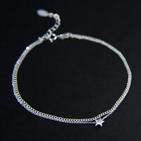 "GENUINE 925 Sterling Silver Tiny Star Double Chain Layered Bracelet UK New 7""-8"""