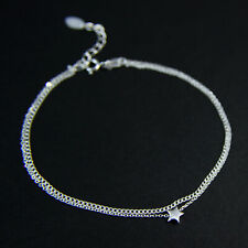 """GENUINE 925 Sterling Silver Tiny Star Double Chain Layered Bracelet UK New 7""""-8"""""""