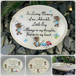 Little Boy Girl Child Baby Graveside Memorial Oval Plaque Grave Teddy Train Pram