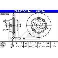 ATE 2x Bremsscheiben belüftet beschichtet 24.0132-0144.1