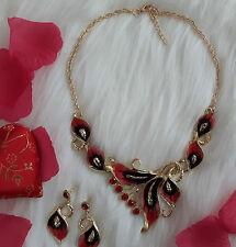 Schmuck Set Silber Gold rot Halskette Ohrringe Strass Perlen Armband Collier