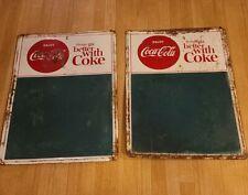 Vintage 1957 Coca-Cola Menu Board Sign Tin Chalkboard Advertising-2 signs