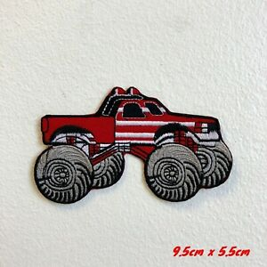 Monster Truck Toy American Red Iron on Sew on Embroidered Patch#1772R