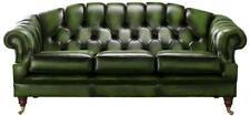Chesterfield Victoria 3 Seater Antique Green Leather Sofa Settee