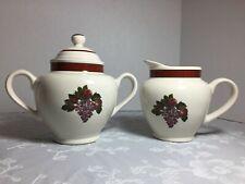 Raymond Waites Cornucopia Pattern Creamer & Sugar Bowl Set