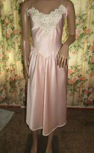 Vintage Gold Label Victoria Secret Satin Slip nightgown Gown Pink Size Medium
