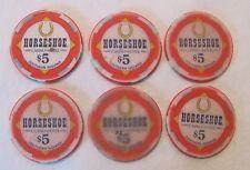 Lot of 6 Horseshoe Casino Southern Indiana $5 Casino Poker Chips