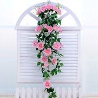 Rose Flower + Basket Artificial Floral Ivy Vine Garland Porch Wall Hanging Decor