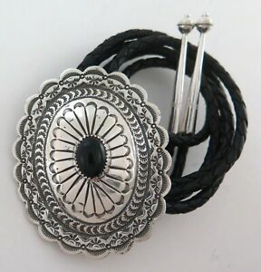 Quality XL Sterling Silver & Black Onyx Scalloped Concho Style Bolo Tie