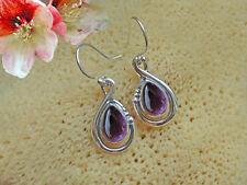 Ohrringe mit Amethyst Ohrhänger Fb. Lila echt 925 Sterling Silber  BC23