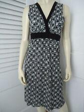 SWEET PEA Dress M Pullover Black White Geometric Nylon Stretch Knit Empire