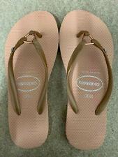 Havaianas Slim WOMENS Ring Flip Flops Sandals Peach Diamond