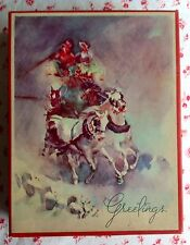 Vintage 1940s Empty Christmas Card Box Watercolor Stagecoach in Snowstorm Scene