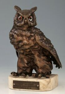 Antique Viennese Bronze - Owl - On White Marble Mount