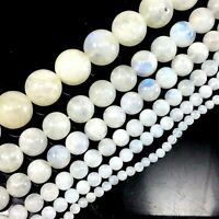 "Natural White Moonstone Round Bead 15"" strand 4mm 6mm 8mm 10mm 12 AAA+ Wholesale"