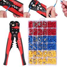 Electrical Wire Terminal Kit Cutter Stripper Plier Crimper 500 Crimp Connectors