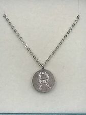 Gold Plated Sterling Silver With Cz Initial Pendant R With Chain 18K White