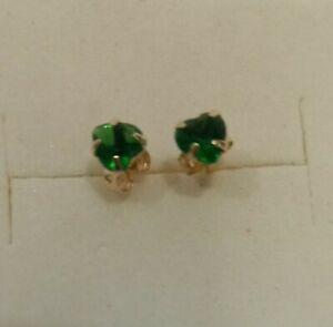 Solid Gold 375  9 Carat Emerald Earrings