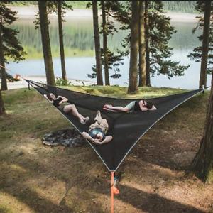 MULTI-PERSON HAMMOCK 3 POINT DESIGN Portable Hammock Triangle Aerial Mat Sleep
