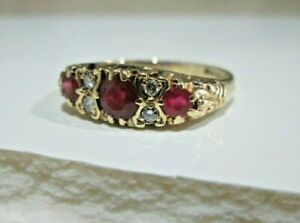 Vintage 9ct Yellow Gold .77ct Natural Ruby & Diamond Eternity Boat Ring Size P