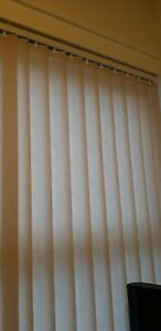Vertical blind slats and rail cream colour, used. Width 85.5cm by 199.6cm drop