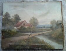 Ancient Art Old Antique Vintage Oil on Canvas VILLAGE Landscape Painting Signed