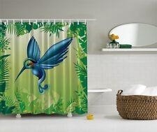 Blue Hummingbird Fabric Graphic Shower Curtain Green Tropical Garden Bath Decor