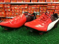 New Puma EvoPOWER 1.3 FG Soccer Cleats  Red / Black Size 8.5 New In Box