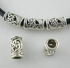 40pcs Tibetan Silver Hole 3mm Filigree Hollow Flower Tube Spacer Beads 5x8.5mm