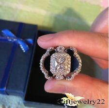 10K White Gold Princess Women's Diamond Engagement Ring Wedding Band Bridal Set