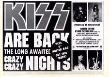 "10/10/87pg22 Single Advert 7x10"" Kiss, Crazy Crazy Nights"