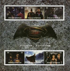 Central African Rep Superheroes Stamps 2016 CTO Superman v Batman 6v M/S II