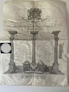 UNITED GRAND LODGE ANCIENT FREE & ACCEPTED MASONS OF ENGLAND CERTIFICATE 1899 VG