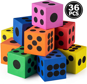 Foam Dice Set - Bulk Pack of 36, 1.5 Inch Large Assorted Colorful Foam Dice with