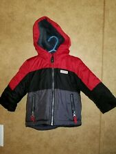 Boys Carters Winter Jacket 12 Months Black, Red And Grey