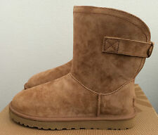 UGG Womens Size 7 Chestnut Brown Remora Winter Boots Short Buckle Warm 1012029