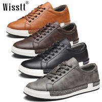Mens Leather Shoes Casual Work Breathable Lace-up Athletic Shoes Tennis Sneakers