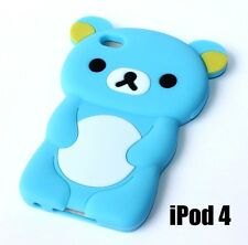 For iPod Touch 4th Gen -  SOFT SILICONE RUBBER SKIN CASE COVER BABY BLUE BEAR