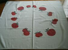 Old Art Tablecloth home loomed heavy linen H painted large apple fruit excellent