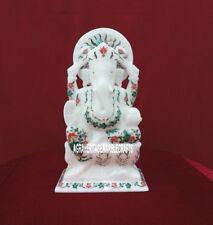 "10"" Marble Ganesh Status Pietradura Malachite Floral Beautiful Gifts Decor H3784"
