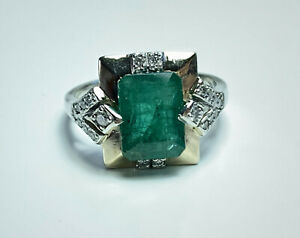 VINTAGE STYLE NATURAL GREEN EMERALD & DIAMOND RING 18CT GOLD VAL $7,260