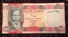 South Sudan Banknote. 5 Sudanese Pounds. Uncirculated. Dated 2011.