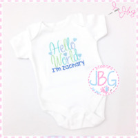 Personalised 'Hello World' Vest,Bodysuit, New baby boy, clothes onsie