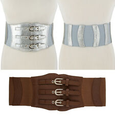 Women Wide Corset High Waist Stretch Elastic Belt 3 buckle faux leather Silver