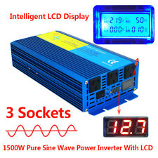 LCD Pure Sine Wave Power Inverter 1500W 3000W DC 12V to AC 240V Caravan camping
