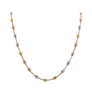 925 Sterling Silver Tri Color 3mm Chain Necklace