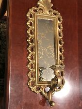 Vintage Homco Cracked Gold Smoked Mirror Wall Candle Holder Scone 2352 Set Of 2